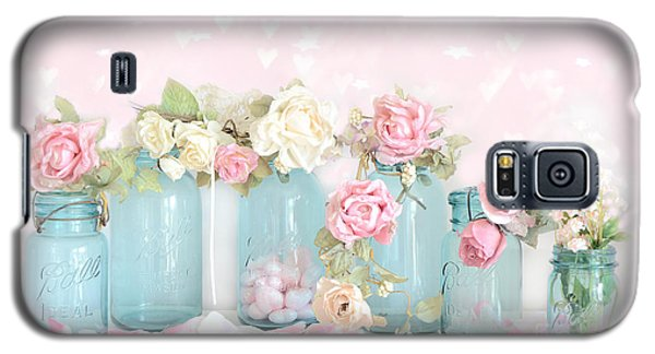 Dreamy Shabby Chic Pink White Roses  - Vintage Aqua Teal Ball Jars Romantic Floral Roses  Galaxy S5 Case
