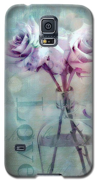 Roses Dreamy Shabby Chic Pink Roses Teal Aqua Impressionistic Cottage Pink Aqua Teal Love Roses Galaxy S5 Case