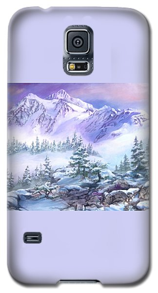 Galaxy S5 Case featuring the painting Dressed In White Mount Shuksan by Sherry Shipley