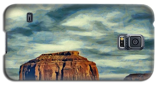 Galaxy S5 Case featuring the painting Drifting Over Monument Valley by Jeff Kolker