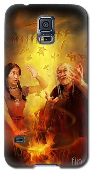 Galaxy S5 Case featuring the painting Drum Story Elders Teaching by Rob Corsetti