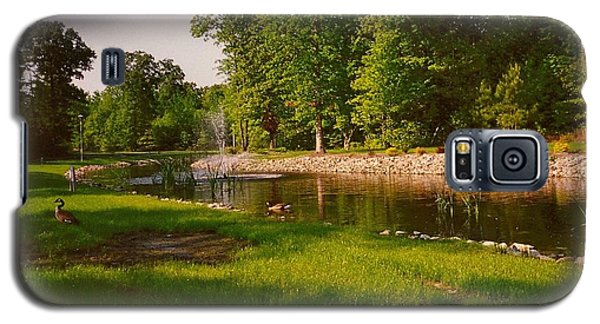 Duck Pond With Water Fountain Galaxy S5 Case by Amazing Photographs AKA Christian Wilson