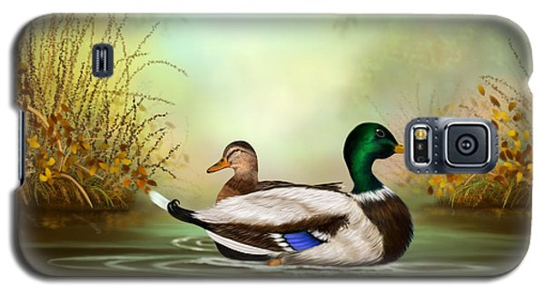 Galaxy S5 Case featuring the painting Duck Retreat by Sena Wilson