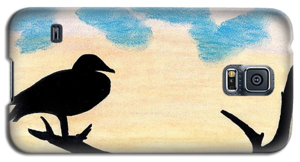 Galaxy S5 Case featuring the drawing Duck Sunset by D Hackett