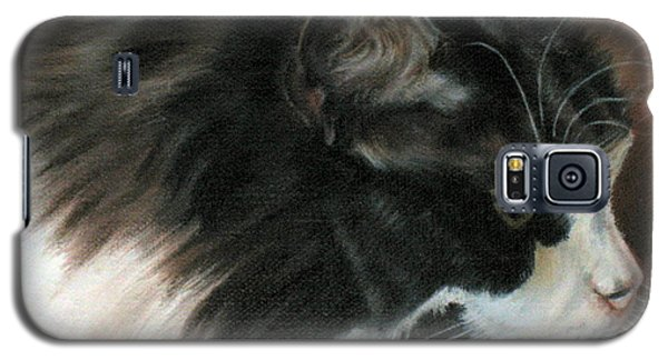 Galaxy S5 Case featuring the painting Dusty Our Handsome Norwegian Forest Kitty by LaVonne Hand