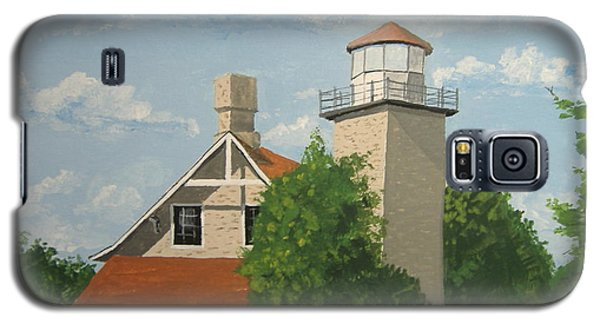 Galaxy S5 Case featuring the painting Eagle Bluff Lighthouse Wisconsin by Norm Starks