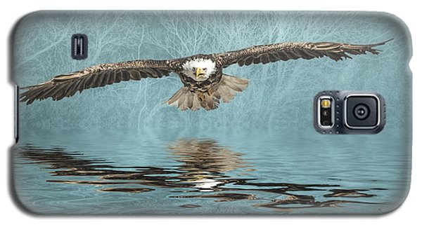 Galaxy S5 Case featuring the photograph Eagle On Misty Lake by Brian Tarr
