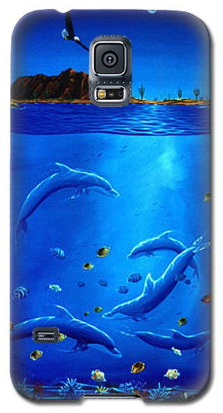Galaxy S5 Case featuring the painting Eagle Over Dolphins by Lance Headlee