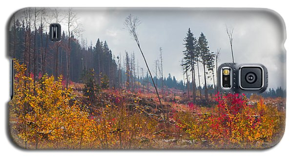 Galaxy S5 Case featuring the photograph Early Autumn Yellow Red Colored Mountain View by Jivko Nakev