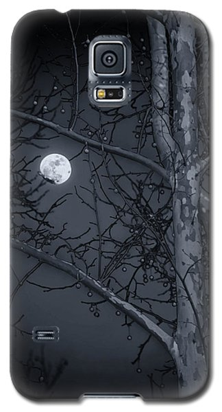 Galaxy S5 Case featuring the photograph Early Moon In Black And White by Micah Goff