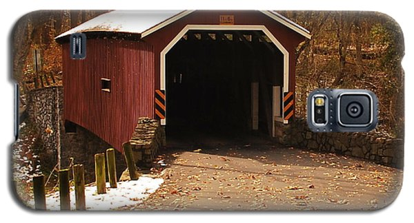 Galaxy S5 Case featuring the photograph Early Snowfall On Wooden Covered Bridge by Bob Sample