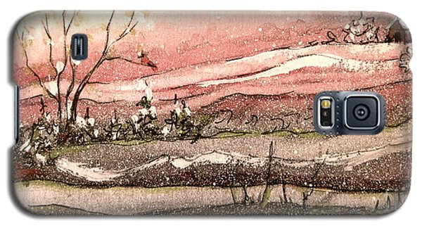 Galaxy S5 Case featuring the painting Early Spring Church Snow by Gretchen Allen