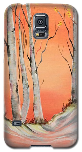 Galaxy S5 Case featuring the painting Early Winter Aspen by Janice Rae Pariza