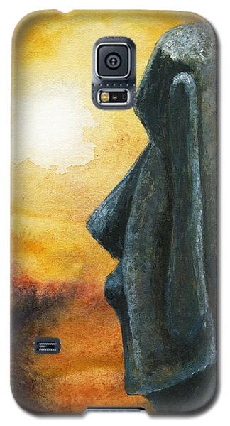 Galaxy S5 Case featuring the painting Easter  Island  Enigma by Hartmut Jager
