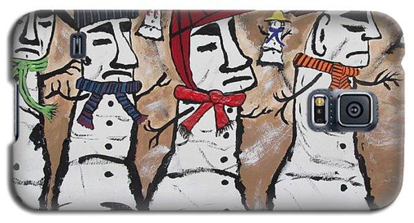 Easter Island Snow Men Galaxy S5 Case by Jeffrey Koss