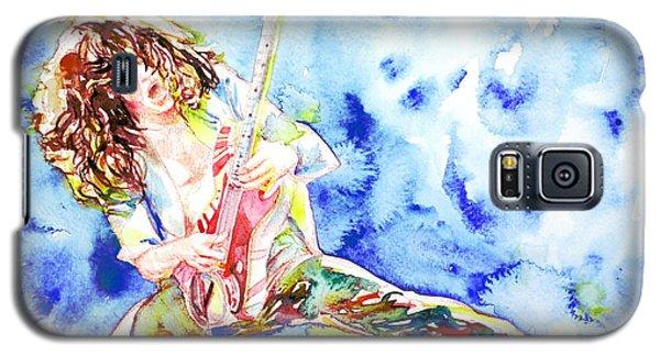 Eddie Van Halen Playing The Guitar.1 Watercolor Portrait Galaxy S5 Case