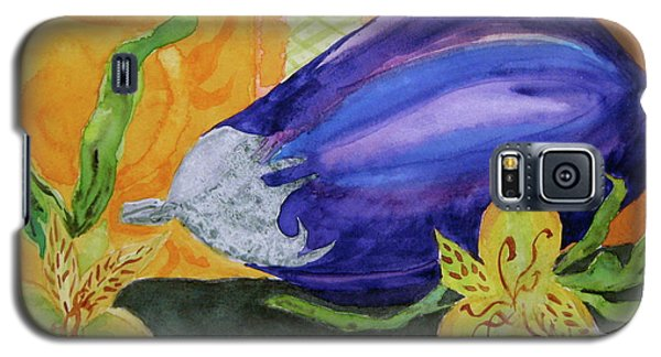 Galaxy S5 Case featuring the painting Eggplant And Alstroemeria by Beverley Harper Tinsley
