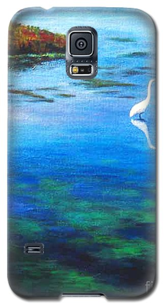 Galaxy S5 Case featuring the painting Egret by Cheryl Del Toro