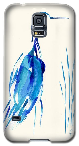 Egret In Blue Mixed Media Galaxy S5 Case by Frank Bright