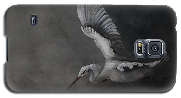 Galaxy S5 Case featuring the painting Egret In Flight by Nancy Bradley