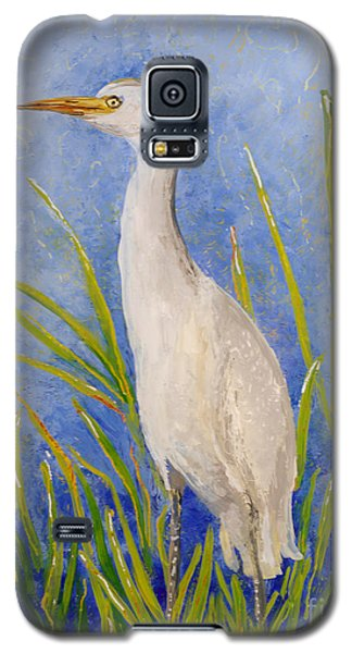 Galaxy S5 Case featuring the painting Egret Morning by Anna Skaradzinska