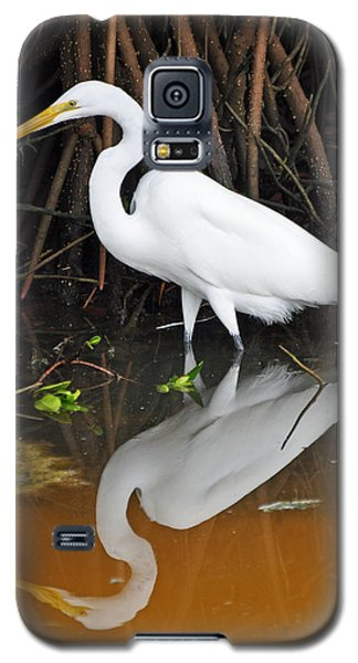 Egret Reflected In Orange Waters Galaxy S5 Case