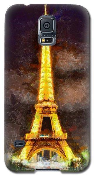 Galaxy S5 Case featuring the digital art Eiffel Tower By Night by Kai Saarto