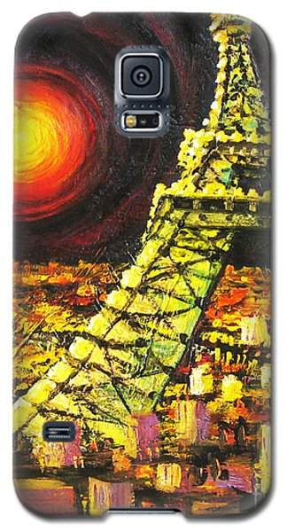 Galaxy S5 Case featuring the painting Eiffel Tower by Cheryl Del Toro