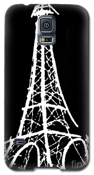 Eiffel Tower Paris France White On Black Galaxy S5 Case