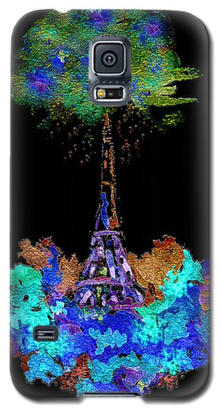 Galaxy S5 Case featuring the painting Eiffel Tower Topiary by Paula Ayers
