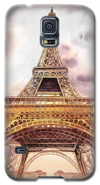 Galaxy S5 Case featuring the painting Eiffel Tower Vintage Art by Irina Sztukowski