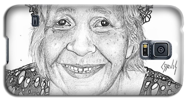 Galaxy S5 Case featuring the drawing Elderly Marshallese Woman by Lew Davis