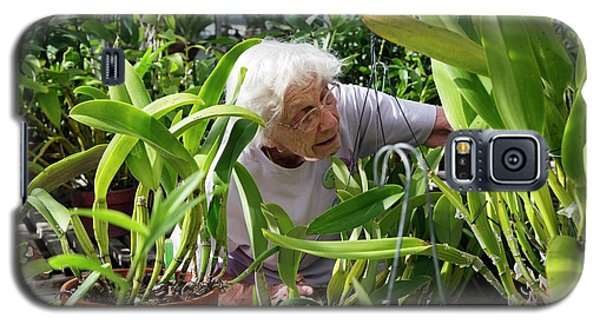Elderly Woman Examining Plants Galaxy S5 Case by Jim West