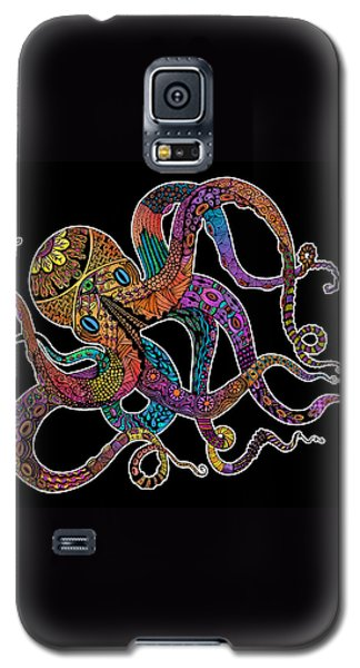 Galaxy S5 Case featuring the drawing Electric Octopus On Black by Tammy Wetzel
