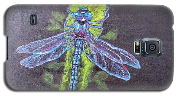 Galaxy S5 Case featuring the painting Electrified Blue Dragonfly by Kimberlee Baxter