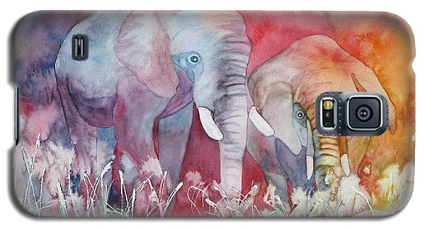 Galaxy S5 Case featuring the painting Elephant Duo by Nancy Jolley