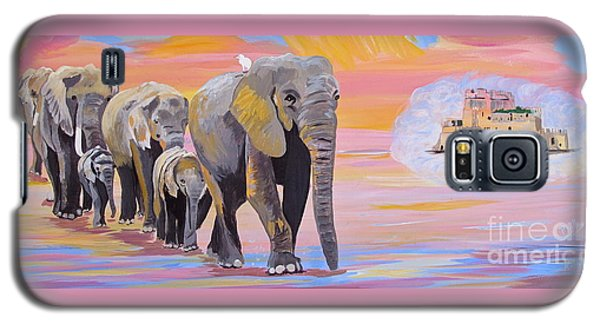 Galaxy S5 Case featuring the painting Elephant Fantasy Must Open by Phyllis Kaltenbach