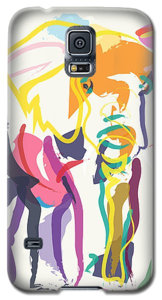 Elephant In Color Ecru Galaxy S5 Case by Go Van Kampen