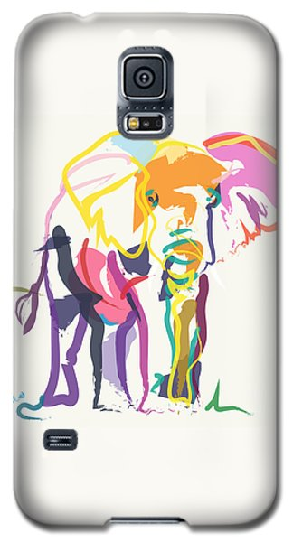 Galaxy S5 Case featuring the painting Elephant In Color Ecru by Go Van Kampen
