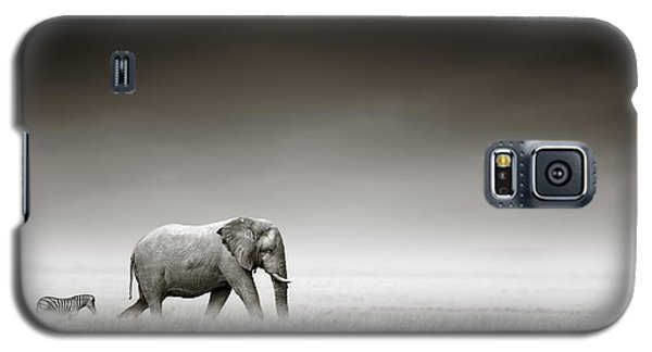 Elephant Galaxy S5 Case - Elephant With Zebra by Johan Swanepoel