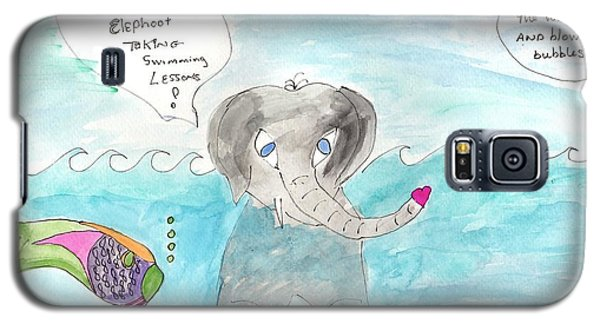 Galaxy S5 Case featuring the painting Elephoot Swim Lesson by Helen Holden-Gladsky