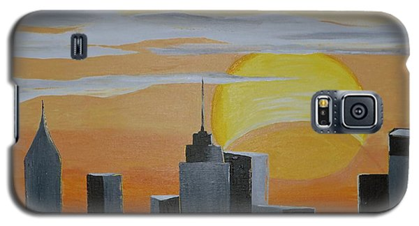 Galaxy S5 Case featuring the painting Elipse At Sunrise by Donna Blossom