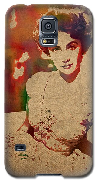 Elizabeth Taylor Watercolor Portrait On Worn Distressed Canvas Galaxy S5 Case by Design Turnpike