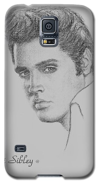 Galaxy S5 Case featuring the drawing Elvis In Charcoal by Loxi Sibley