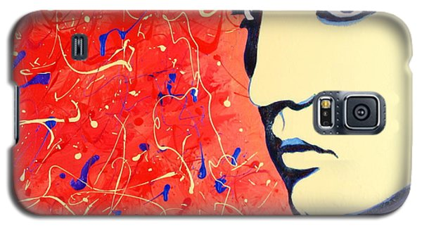 Galaxy S5 Case featuring the painting Elvis Presley - Red Blue Drip by Bob Baker