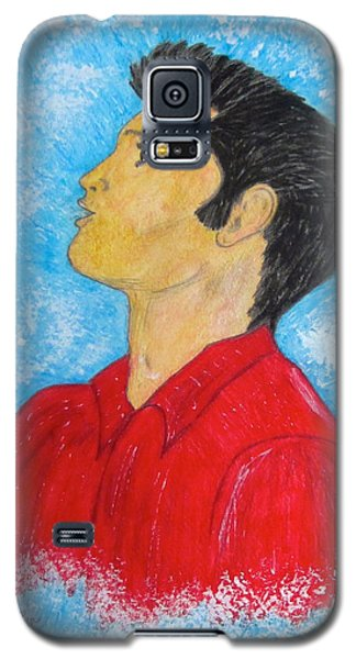 Galaxy S5 Case featuring the painting Elvis Presley Singing by Kathy Marrs Chandler