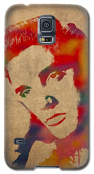 Portraits Galaxy S5 Case - Elvis Presley Watercolor Portrait On Worn Distressed Canvas by Design Turnpike