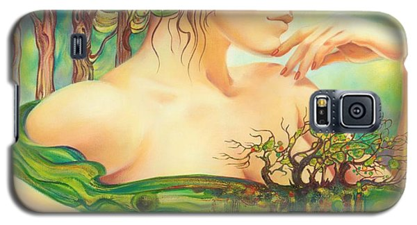 Galaxy S5 Case featuring the painting Emerald Lake by Anna Ewa Miarczynska