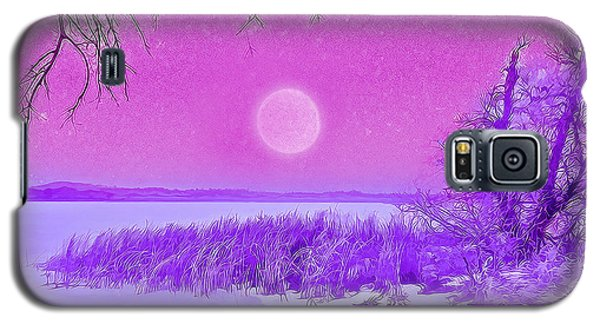 Galaxy S5 Case featuring the digital art Rosy Hued Moonlit Lake - Boulder County Colorado by Joel Bruce Wallach
