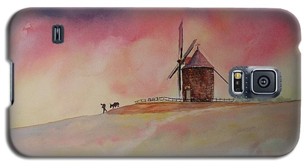 Galaxy S5 Case featuring the painting End Of The Day Windmill Of Moidrey by Beatrice Cloake